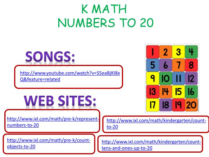 K math numbers to 20