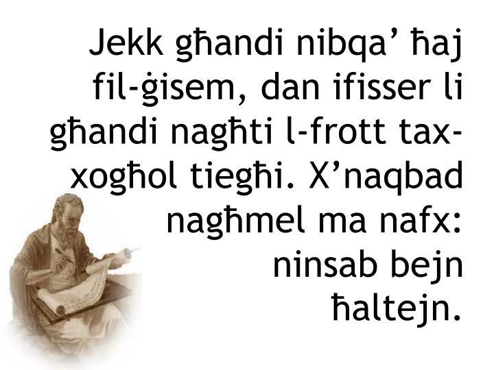 Jekk għandi nibqa' ħaj fil-ġisem, dan ifisser li għandi nagħti l-frott tax-xogħol tiegħi. X'naqbad nagħmel ma nafx: