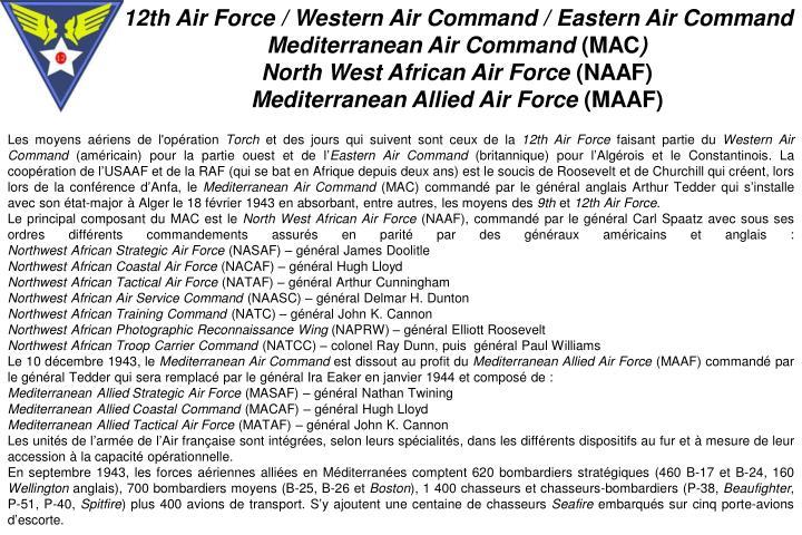 12th Air Force / Western Air Command / Eastern Air Command