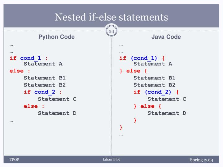 Nested if-else statements