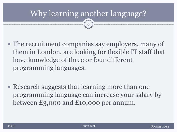 Why learning another language?