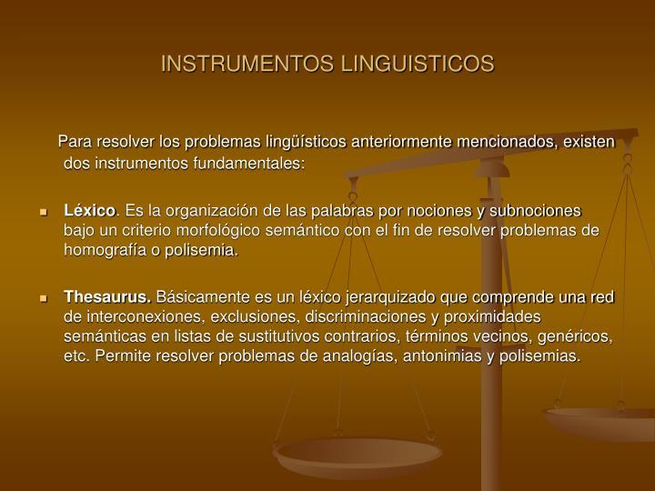 INSTRUMENTOS LINGUISTICOS