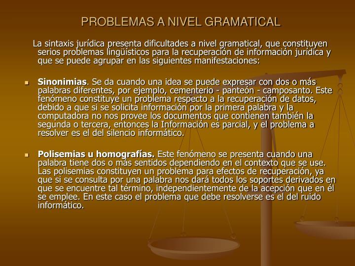 PROBLEMAS A NIVEL GRAMATICAL