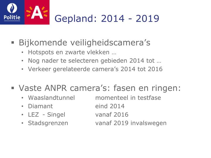 Gepland: 2014 - 2019