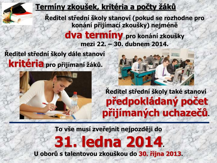 Termíny zkoušek, kritéria a počty žáků