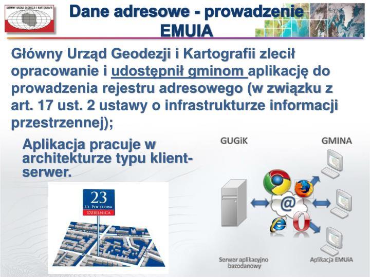 Dane adresowe - prowadzenie EMUIA