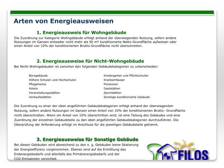 1. Energieausweis für Wohngebäude