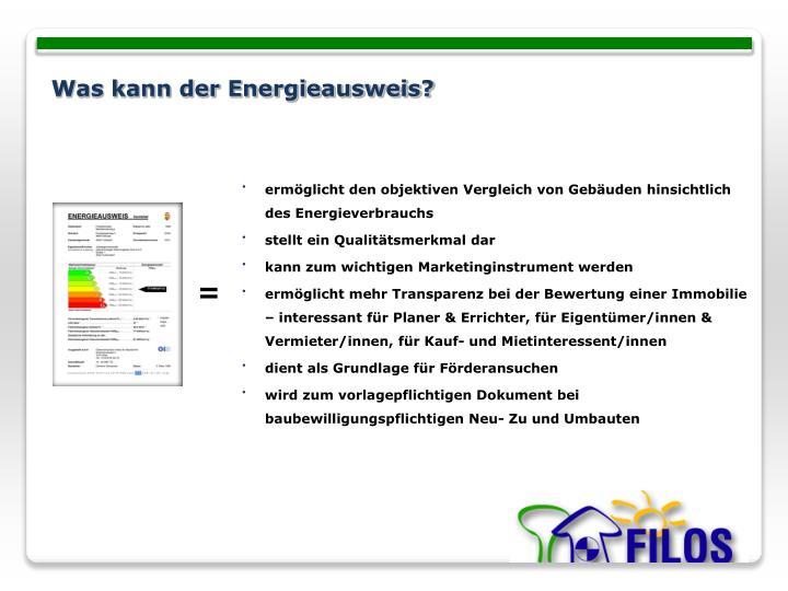 Was kann der Energieausweis?