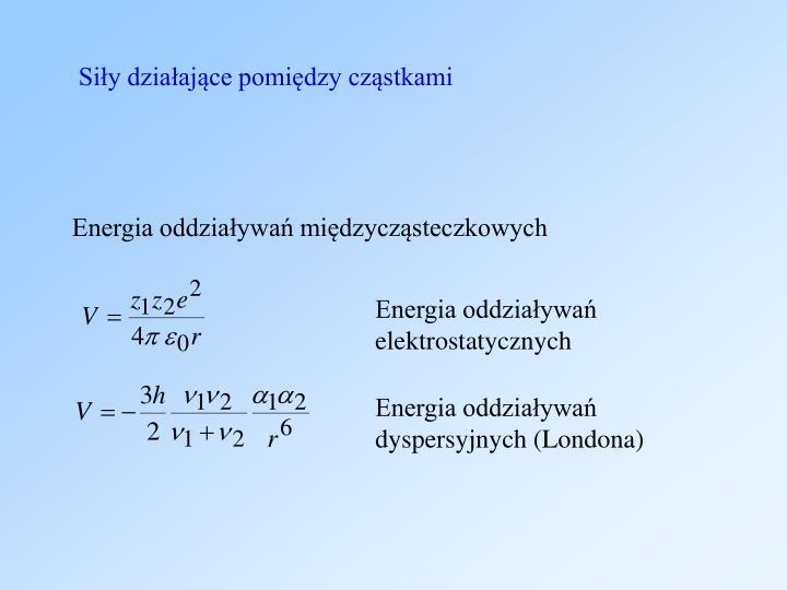 Siły działające pomiędzy cząstkami