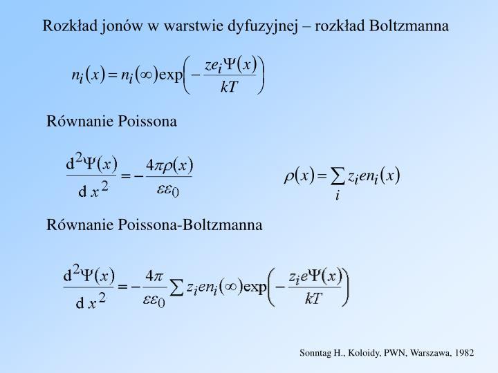 Rozkład jonów w warstwie dyfuzyjnej – rozkład Boltzmanna
