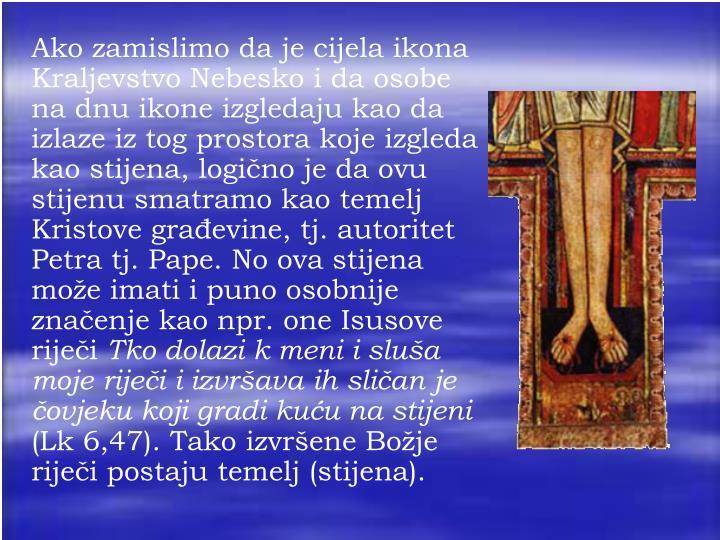 Ako zamislimo da je cijela ikona Kraljevstvo Nebesko i da osobe na dnu ikone izgledaju kao da izlaze iz tog prostora koje izgleda kao stijena, logično je da ovu stijenu smatramo kao temelj Kristove građevine, tj. autoritet Petra tj. Pape. No ova stijena može imati i puno osobnije značenje kao npr. one Isusove riječi