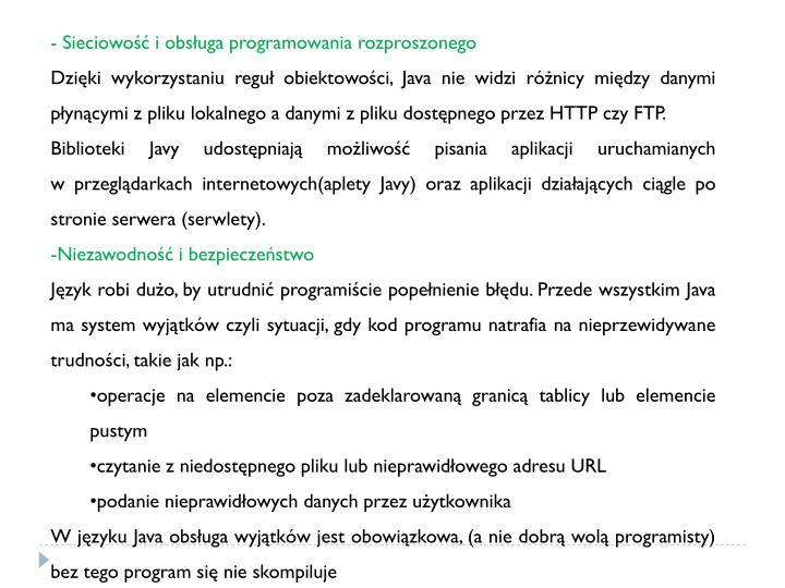 Sieciowość i obsługa programowania rozproszonego