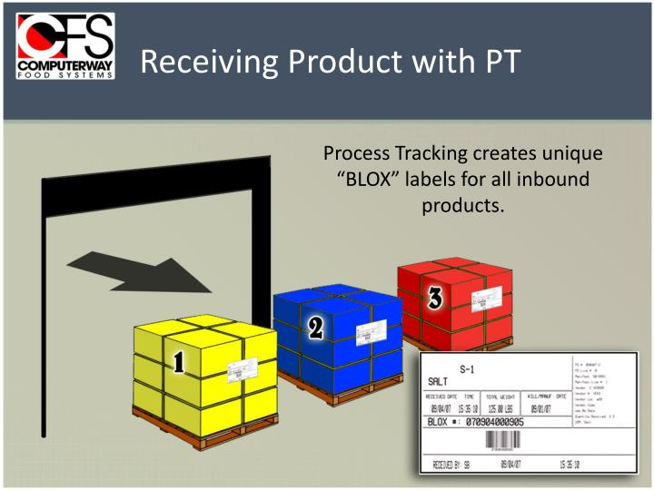 """Process Tracking creates unique """"BLOX"""" labels for all inbound products."""