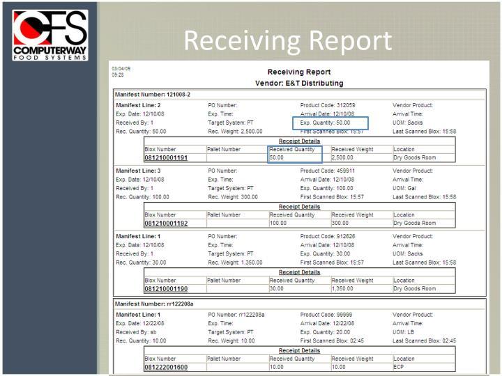 Receiving Report