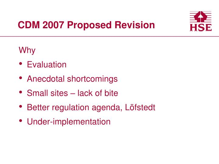 CDM 2007 Proposed Revision