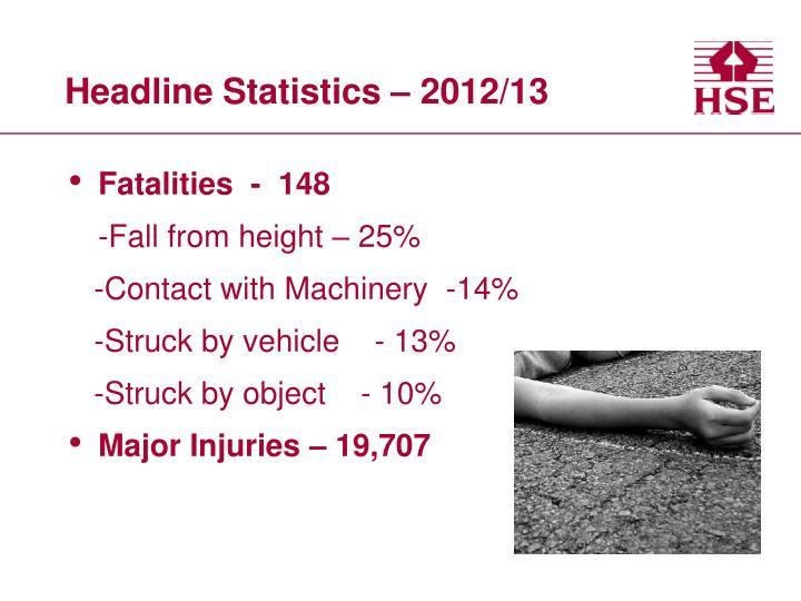 Headline Statistics – 2012/13