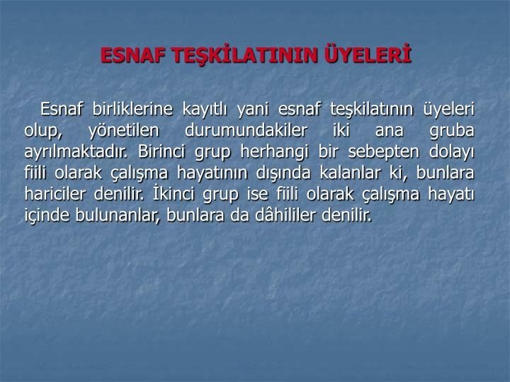 ESNAF TEŞKİLATININ ÜYELERİ