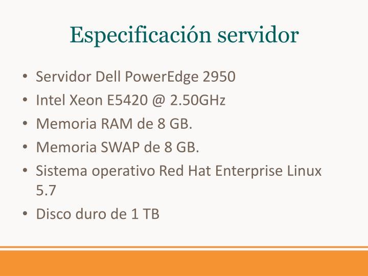 Especificación servidor