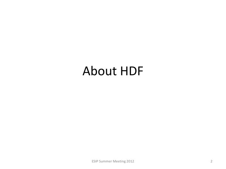About HDF