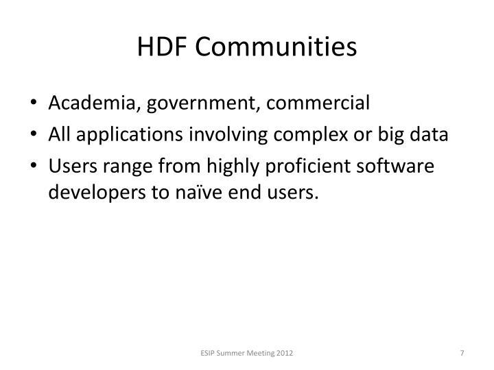 HDF Communities