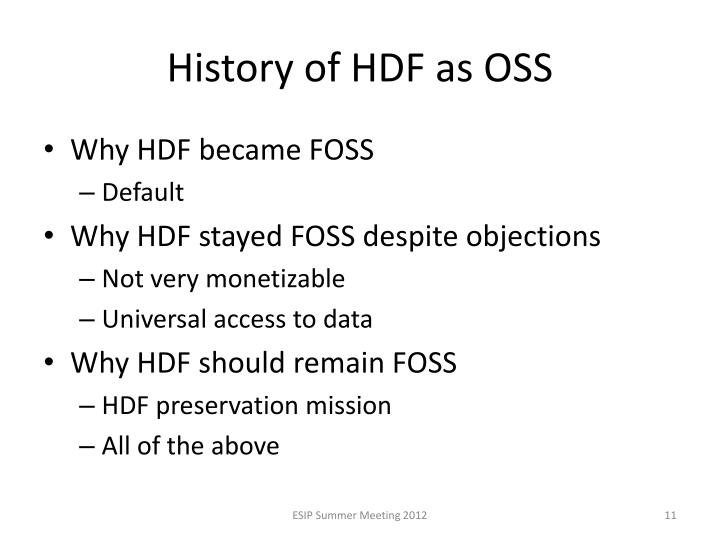 History of HDF as OSS