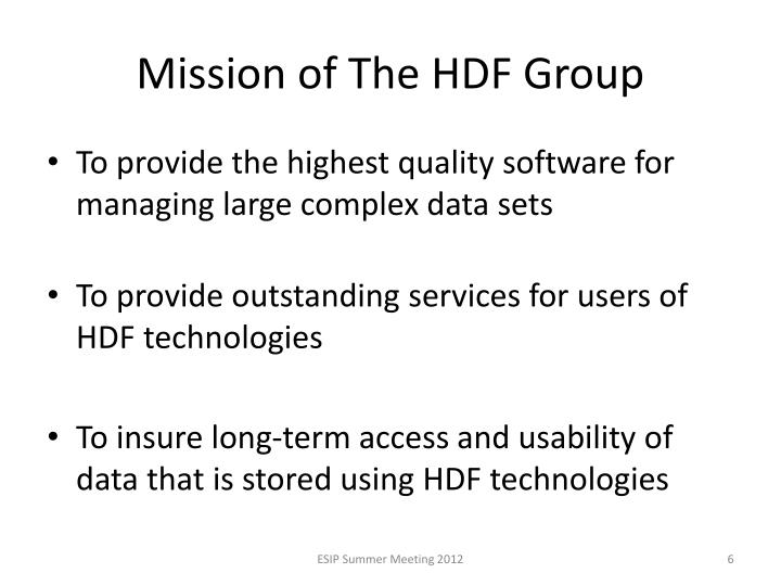 Mission of The HDF Group