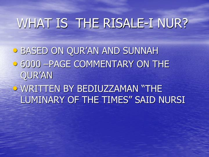 WHAT IS  THE RISALE-I NUR?