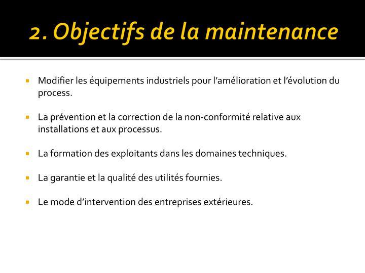 2. Objectifs de la maintenance