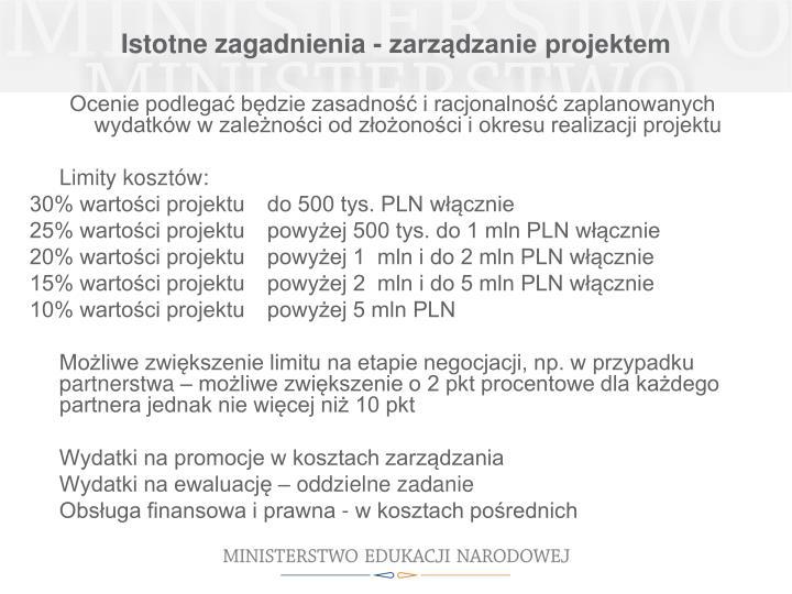 Istotne zagadnienia - zarządzanie projektem