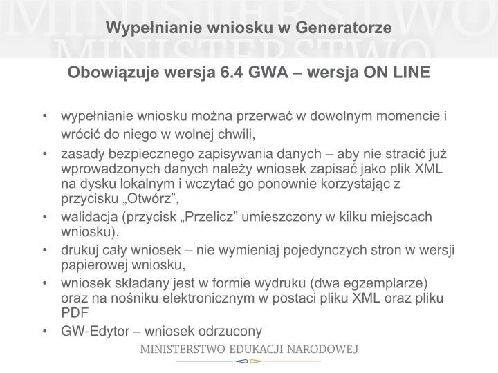 Wypełnianie wniosku w Generatorze