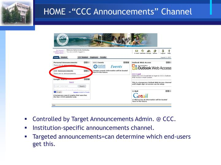 "HOME -""CCC Announcements"" Channel"
