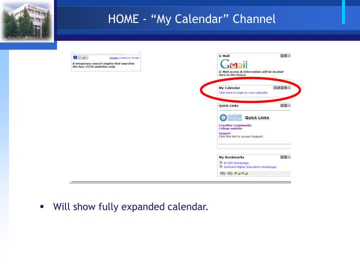 "HOME - ""My Calendar"" Channel"
