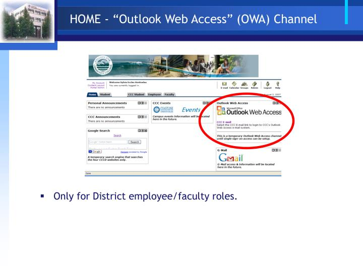 "HOME - ""Outlook Web Access"" (OWA) Channel"