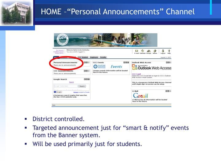 "HOME –""Personal Announcements"" Channel"