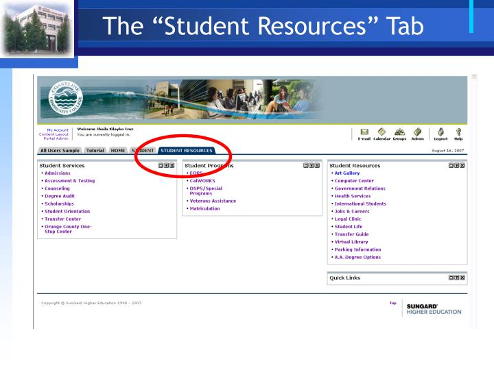 "The ""Student Resources"" Tab"