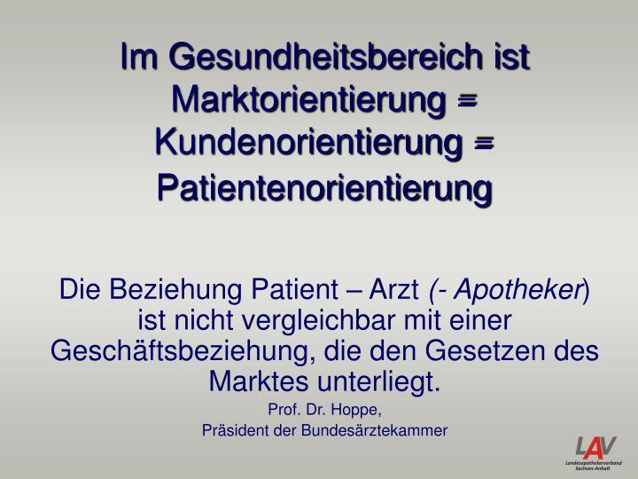 Im Gesundheitsbereich ist Marktorientierung = Kundenorientierung = Patientenorientierung