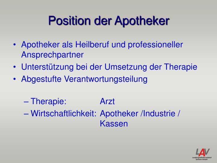 Position der Apotheker