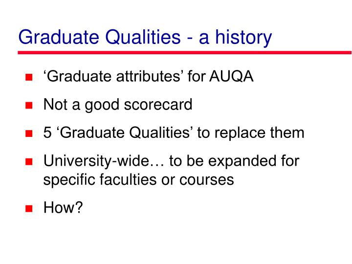 Graduate Qualities - a history