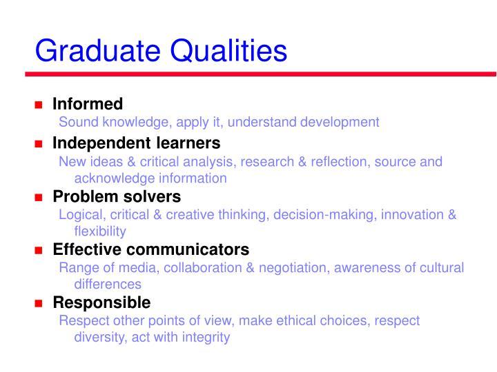 Graduate Qualities