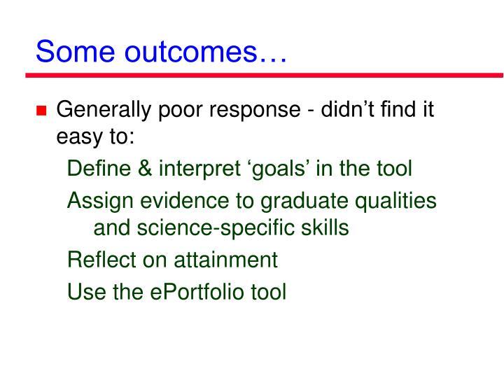 Some outcomes…