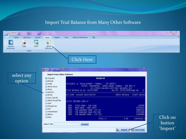 Import Trial Balance from Many Other Software