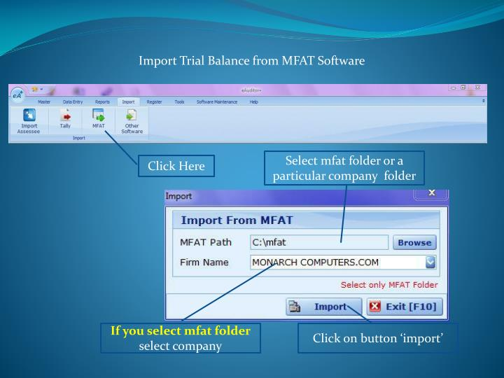 Import Trial Balance from MFAT Software
