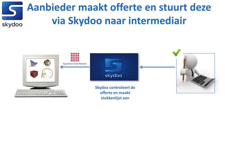 Aanbieder maakt offerte en stuurt deze via Skydoo naar intermediair