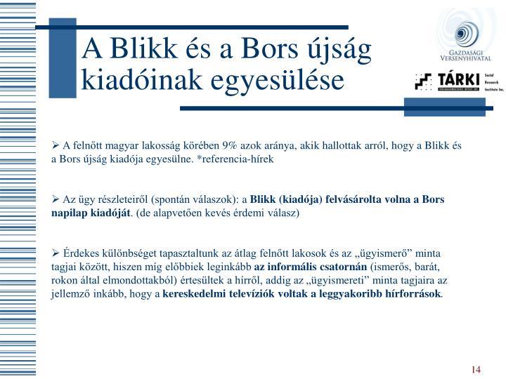 A Blikk és a Bors újság kiadóinak egyesülése