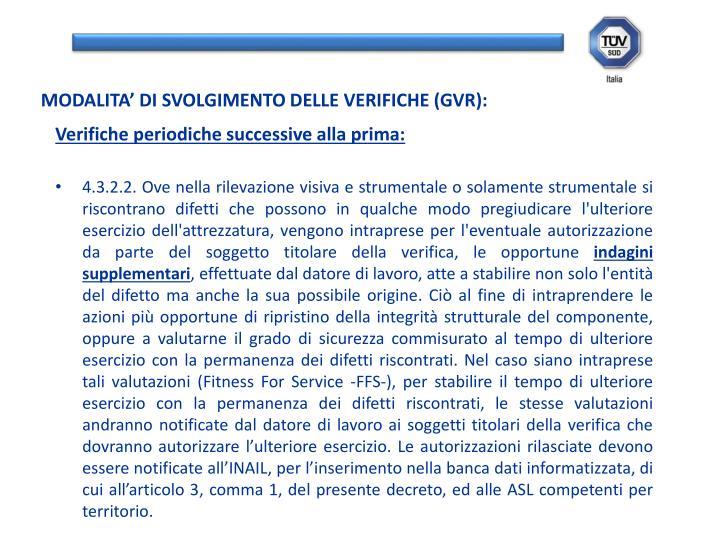 MODALITA' DI SVOLGIMENTO DELLE VERIFICHE (GVR):