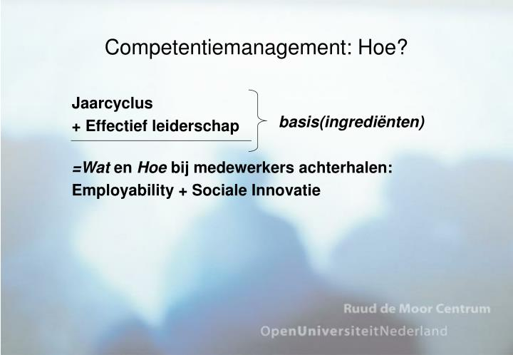Competentiemanagement: Hoe?