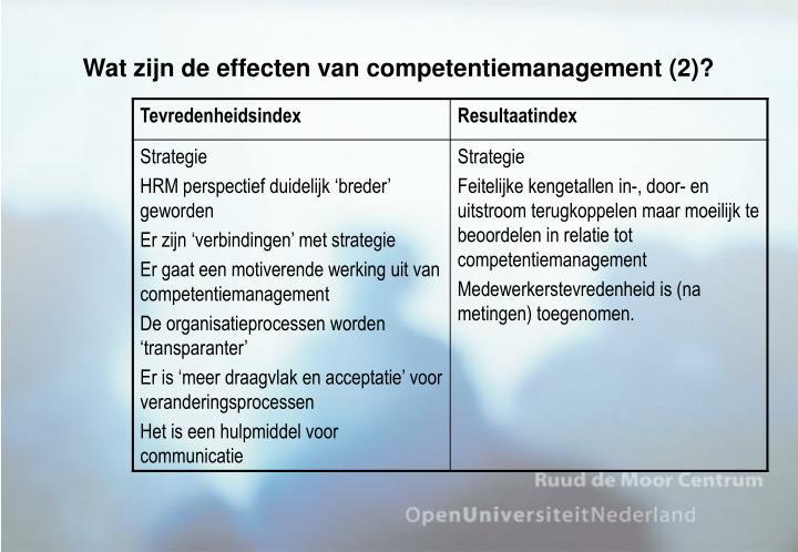 Wat zijn de effecten van competentiemanagement (2)?