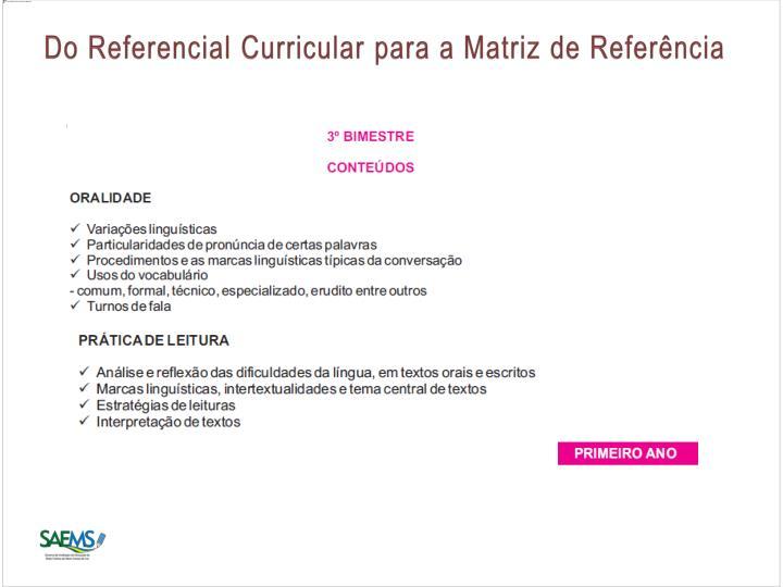 Do Referencial Curricular para a Matriz de Referência