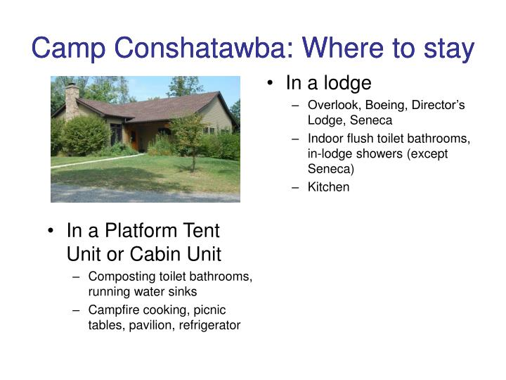 Camp Conshatawba: Where to stay