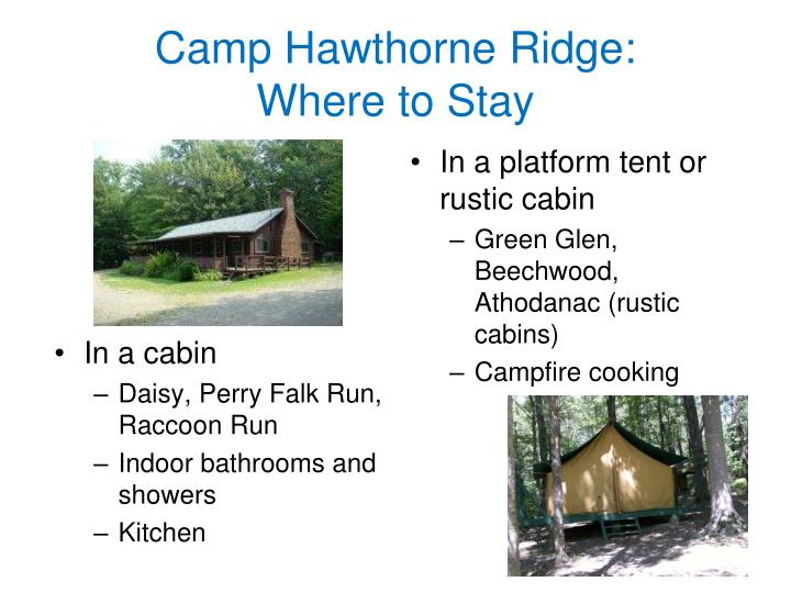 Camp Hawthorne Ridge:       Where to Stay